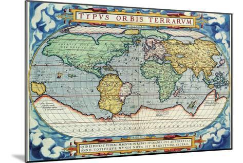 Typus Orbis Terrarum from the Theatre of the World in Apian Projection-Abraham Ortelius-Mounted Art Print