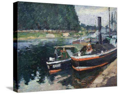 Barges at Pontoise-Camille Pissarro-Stretched Canvas Print