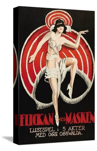 """Movies and Masks """"Flickan Med Masken""""--Stretched Canvas Print"""