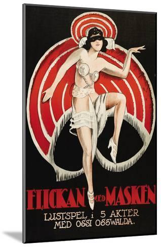 """Movies and Masks """"Flickan Med Masken""""--Mounted Art Print"""