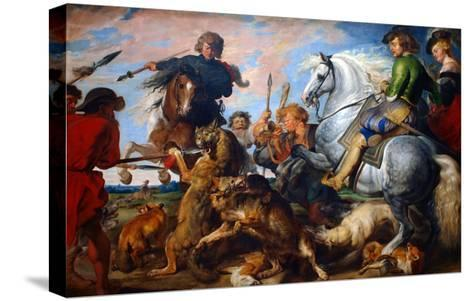 Wolf and Fox Hunt-Peter Paul Rubens-Stretched Canvas Print