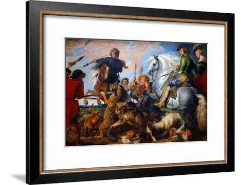Wolf and Fox Hunt-Peter Paul Rubens-Framed Art Print