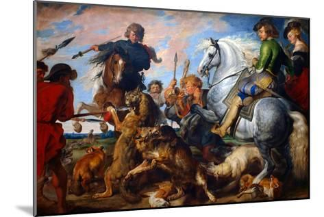 Wolf and Fox Hunt-Peter Paul Rubens-Mounted Art Print