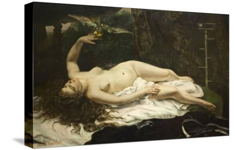 Woman with a Parrot-Gustave Courbet-Stretched Canvas Print