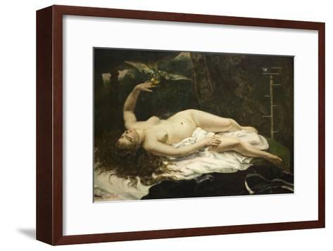 Woman with a Parrot-Gustave Courbet-Framed Art Print