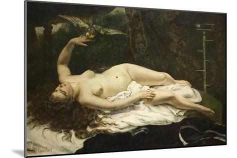 Woman with a Parrot-Gustave Courbet-Mounted Art Print
