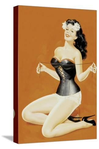 Lacing Her Bra-Peter Driben-Stretched Canvas Print