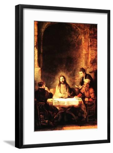Christ in Emmaus-Rembrandt van Rijn-Framed Art Print