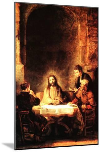 Christ in Emmaus-Rembrandt van Rijn-Mounted Art Print