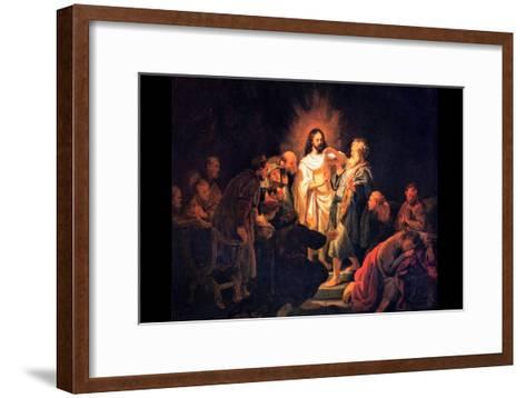 Doubting Thomas by Rembrandt-Rembrandt van Rijn-Framed Art Print