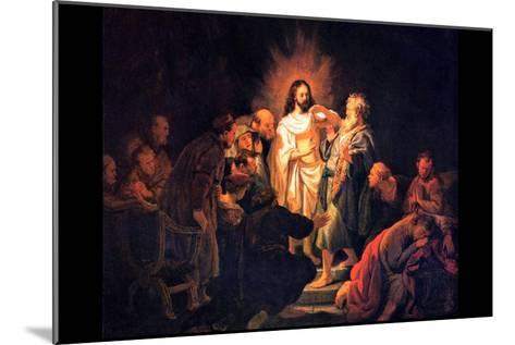 Doubting Thomas by Rembrandt-Rembrandt van Rijn-Mounted Art Print