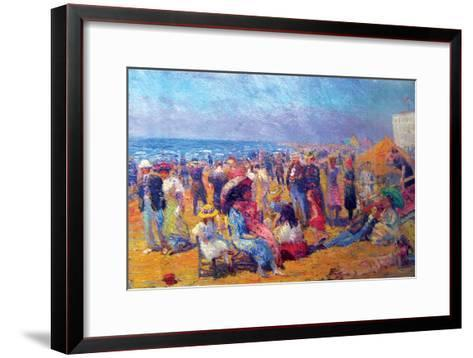 Crowd at the Beach-William Glackens-Framed Art Print
