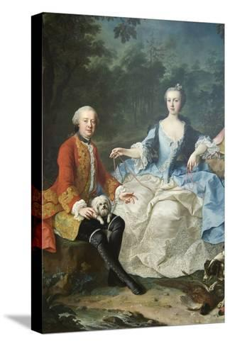 Count Giacomo Durazzo in the Guise of a Huntsman with His Wife-Martin van Meytens-Stretched Canvas Print