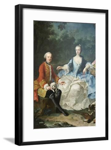 Count Giacomo Durazzo in the Guise of a Huntsman with His Wife-Martin van Meytens-Framed Art Print