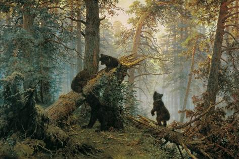 Bears in the Forest Morning-Ivan Ivanovitch Shishkin-Stretched Canvas Print