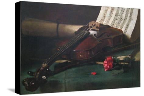 Still Life with Violin, Sheet Music and a Rose-Francois Bonvin-Stretched Canvas Print