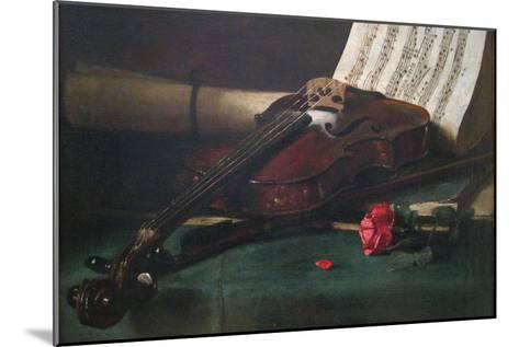 Still Life with Violin, Sheet Music and a Rose-Francois Bonvin-Mounted Art Print