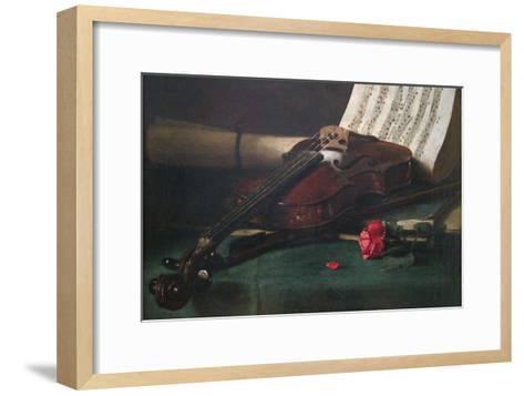 Still Life with Violin, Sheet Music and a Rose-Francois Bonvin-Framed Art Print