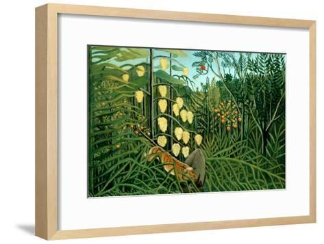 In a Tropical Forest; Tiger Attacks a Buffalo-Henri Rousseau-Framed Art Print