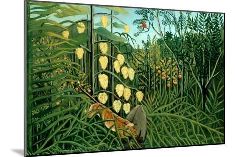 In a Tropical Forest; Tiger Attacks a Buffalo-Henri Rousseau-Mounted Art Print