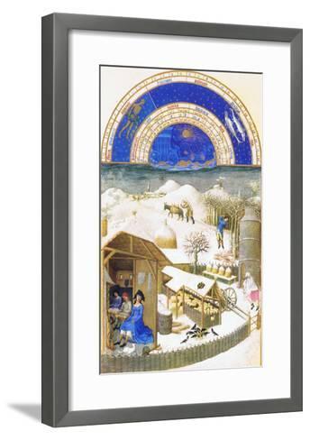 Le Tres Riches Heures Du Duc De Berry - February-Paul Herman & Jean Limbourg-Framed Art Print