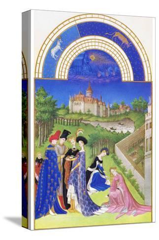 Le Tres Riches Heures Du Duc De Berry - April-Paul Herman & Jean Limbourg-Stretched Canvas Print