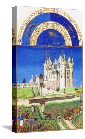 Le Tres Riches Heures Du Duc De Berry - September-Paul Herman & Jean Limbourg-Stretched Canvas Print