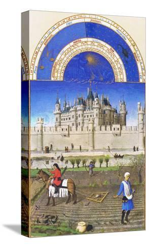 Le Tres Riches Heures Du Duc De Berry - October-Paul Herman & Jean Limbourg-Stretched Canvas Print