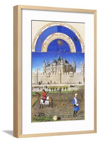 Le Tres Riches Heures Du Duc De Berry - October-Paul Herman & Jean Limbourg-Framed Art Print