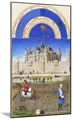 Le Tres Riches Heures Du Duc De Berry - October-Paul Herman & Jean Limbourg-Mounted Art Print