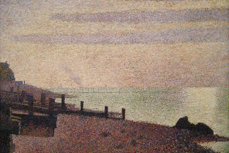 Evening, Honfleur-Georges Seurat-Stretched Canvas Print