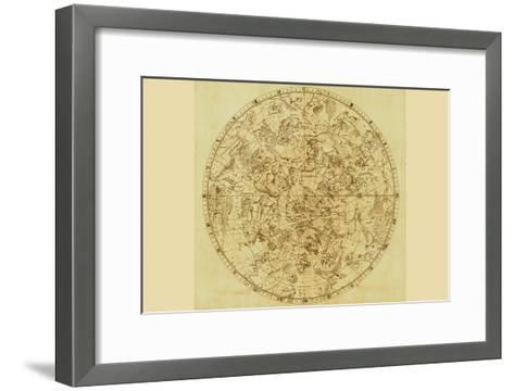 Celestial Map of the Mythological Heavens with Zodiacal Characters-Sir John Flamsteed-Framed Art Print