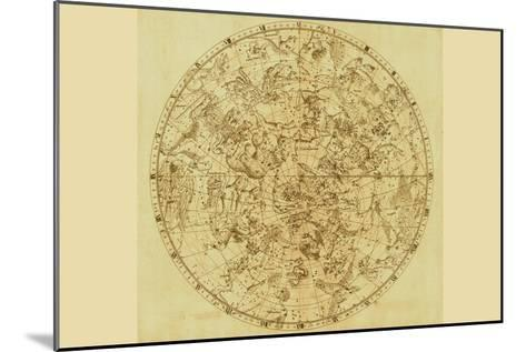 Celestial Map of the Mythological Heavens with Zodiacal Characters-Sir John Flamsteed-Mounted Art Print