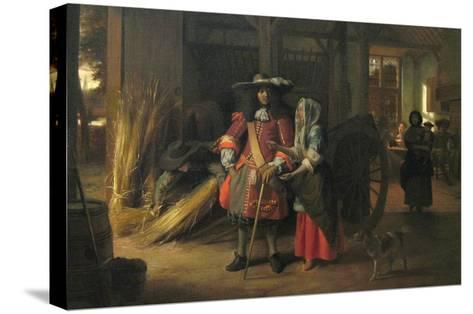 Paying the Hostess-Pieter de Hooch-Stretched Canvas Print