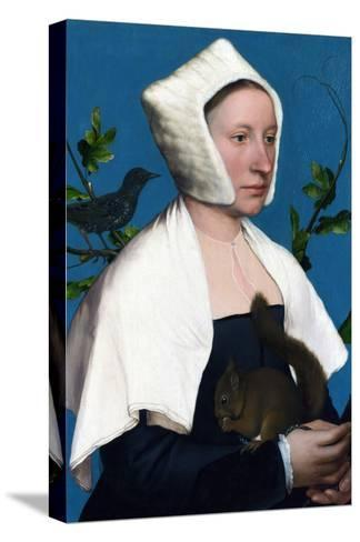 Portrait of a Lady with a Squirrel and a Starling-Hans Holbein the Younger-Stretched Canvas Print