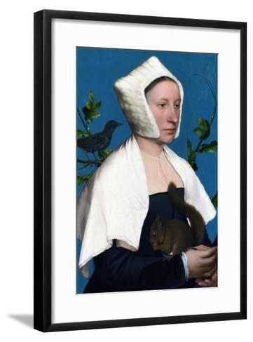 Portrait of a Lady with a Squirrel and a Starling-Hans Holbein the Younger-Framed Art Print