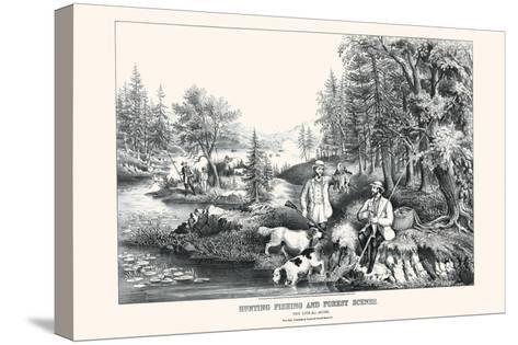 Hunting Fishing and Forest Scenes: Good Luck All Around-Currier & Ives-Stretched Canvas Print