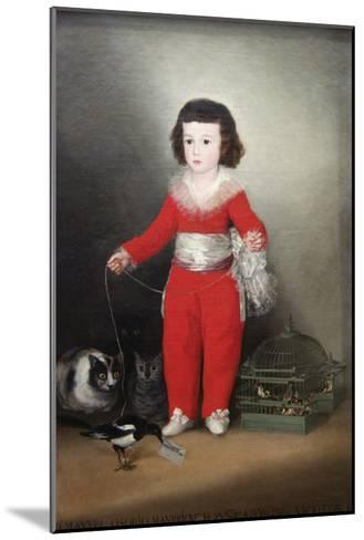 Manuel Osorio Manrique De Zuñiga, a Child with His Pets-Francisco de Goya-Mounted Art Print