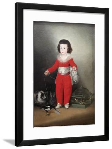 Manuel Osorio Manrique De Zuñiga, a Child with His Pets-Francisco de Goya-Framed Art Print