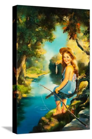 Little Girl Fishing-Maxine Stevens-Stretched Canvas Print
