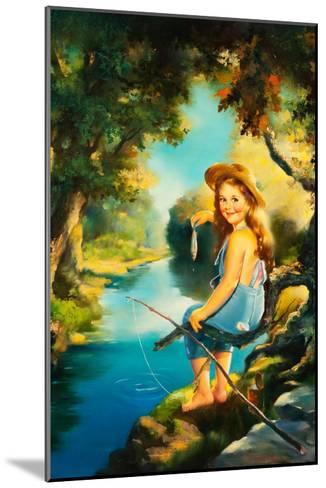 Little Girl Fishing-Maxine Stevens-Mounted Art Print