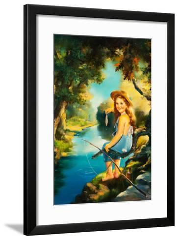Little Girl Fishing-Maxine Stevens-Framed Art Print