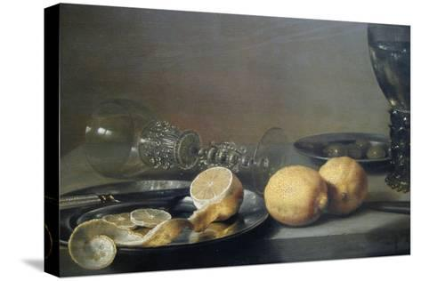 Still Life with Two Lemons, a Facon De Venise Glass, Roemer, Knife and Olives on a Table-Peter da Heem-Stretched Canvas Print