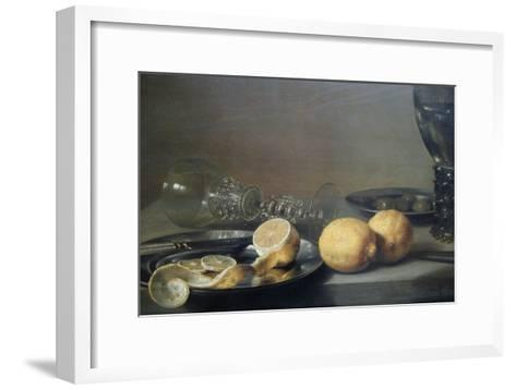 Still Life with Two Lemons, a Facon De Venise Glass, Roemer, Knife and Olives on a Table-Peter da Heem-Framed Art Print