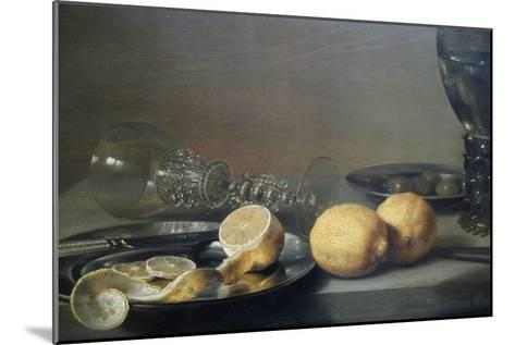 Still Life with Two Lemons, a Facon De Venise Glass, Roemer, Knife and Olives on a Table-Peter da Heem-Mounted Art Print