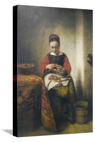 Young Girl Peeling Apples-Nicholaes Maes-Stretched Canvas Print