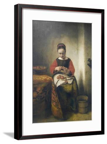 Young Girl Peeling Apples-Nicholaes Maes-Framed Art Print