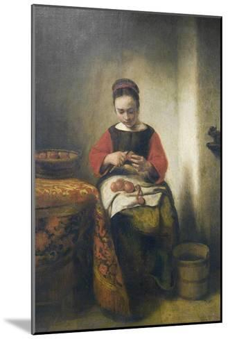 Young Girl Peeling Apples-Nicholaes Maes-Mounted Art Print