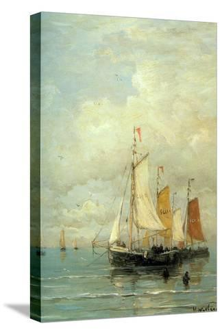 A Moored Fishing Fleet-Hendrik William Mesdag-Stretched Canvas Print