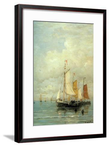 A Moored Fishing Fleet-Hendrik William Mesdag-Framed Art Print